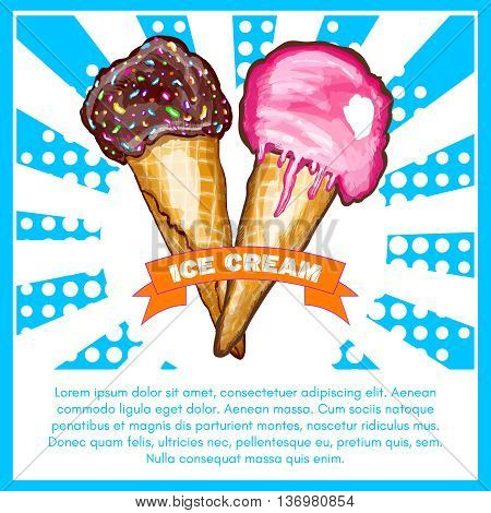 Ice cream poster two crossed waffle ice cream cone pop art vector illustration