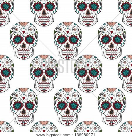 hand painted Sugar Skull with flowers the day of death seamless pattern