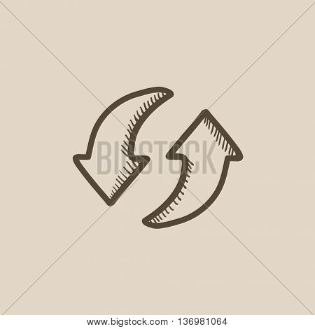 Two circular arrows vector sketch icon isolated on background. Hand drawn Two circular arrows icon. Two circular arrows sketch icon for infographic, website or app.