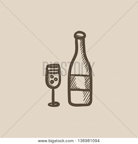 Bottle of champaign and glass vector sketch icon isolated on background. Hand drawn Bottle of champaign and glass icon. Bottle of champaign and glass sketch icon for infographic, website or app.
