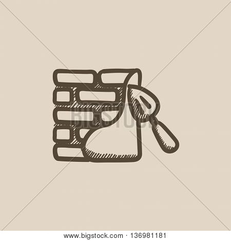 Spatula with brickwall vector sketch icon isolated on background. Hand drawn Spatula with brickwall icon. Spatula with brickwall sketch icon for infographic, website or app.