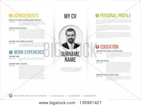 Vector minimalist cv / resume template - minimalistic colorful version with photo in the middle