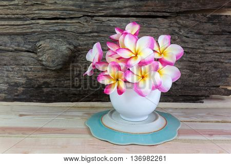 Pink Frangipani Or Plumeria In White Big Cup On Wood Table And Log Or Timber Background