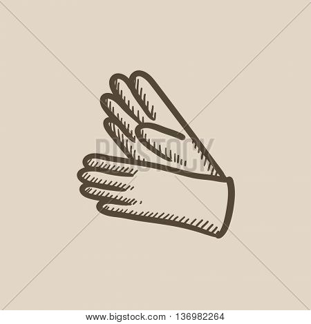 Gloves sketch icon for web, mobile and infographics. Hand drawn gloves icon. Gloves vector icon. Gloves icon isolated on white background.