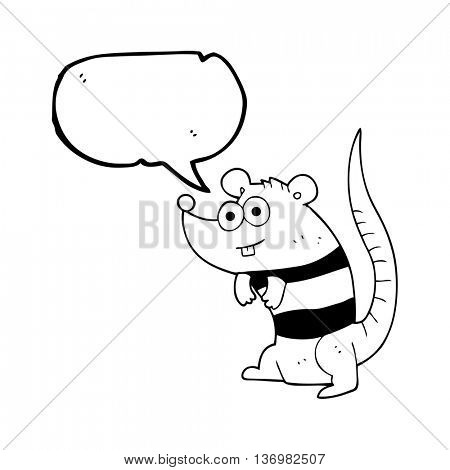 freehand drawn speech bubble cartoon rat