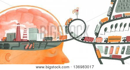 Brain sensor information delay - a concept illustration of a brain acting like a factory and information units as tracks with information bits going towards and delayed standing on traffic light