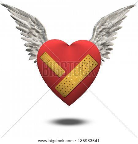 Wounded heart free to fly 3D Render