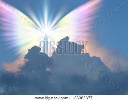 Supernatural being in sky 3D Render