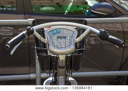 Moscow Russia - May 6 2016: bike for rent in Moscow. City bikes. Handlebar and display.