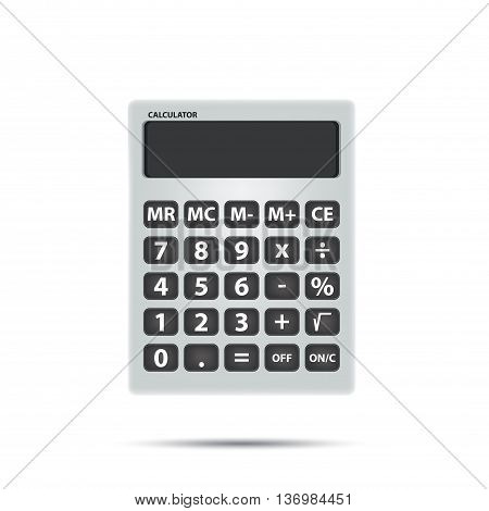 Vector White calculator object for calculating on white background. Math and Object Concept.