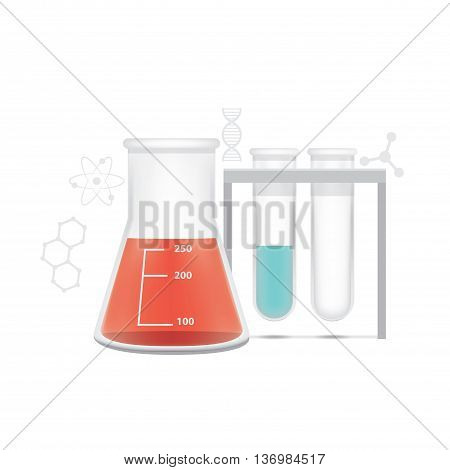 illustration vector Chemical conical flask and test tube on white background. Education and Science and medical Concept.