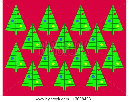 Retro Christmas tree wall paper background pattern using primary colors.