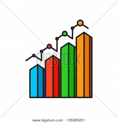 Bar chart. Diagram, growth, statistics. Business concept. Can be used for topics like finance, presentation, business, analysis