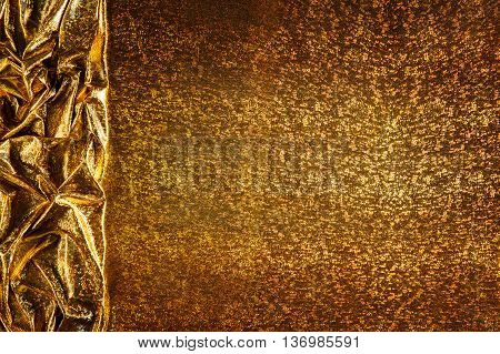 Gold Fabric Background Cloth Golden Sparkles Texture Waves Border