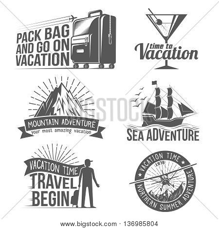 Vacation Adventure logo set  in style intazhnom. All badges can be easily disassembled into separate elements.