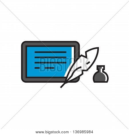 Illustration of inkwell, quill and tablet computer. Writing, school, stationery, modern technology. School concept. Can be used for topics like computer, school, stationery