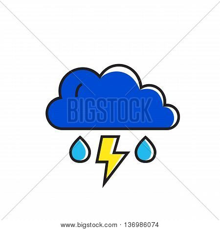 Cloud with raindrops and lightning illustration. Thunderstorm, rainy weather, climate, weather forecast. Weather concept. Can be used for topics like weather, climate, meteorology, weather forecast