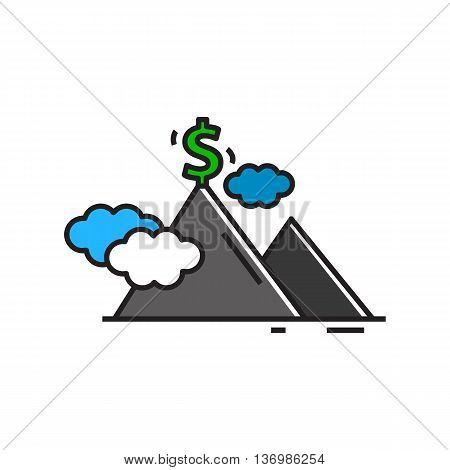 Mountain peak with dollar sign. Financial success, achievement, business, growth. Success concept. Can be used for topics like money, finance, busines, financial success