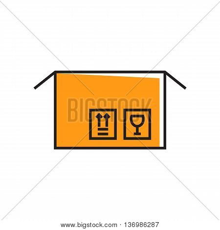 Illustration of open parcel. Carton box, post office, symbols. Parcel concept. Can be used for topics like post office, delivery, online purchase