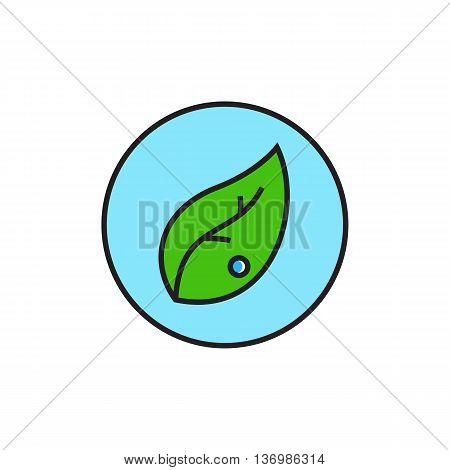 Leaf in circle. Organic sign, environment, ecology. Environment concept. Can be used for topics like ecology, environment, healthy lifestyle