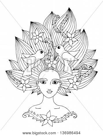 Portrait of a beautiful girl with long hair with flower and bird. Mono color black line art element for adult coloring book page design.