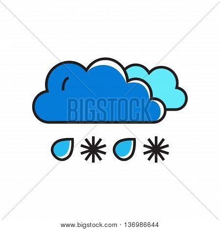 Clouds with falling snowflakes and raindrops. Snowy with rain, weather, climate, weather forecast. Weather concept. Can be used for topics like weather, climate, meteorology, weather forecast