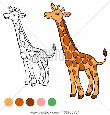 Coloring page. Color me: beaver. Little cute giraffe stands and smiles.