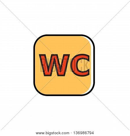 WC sign in rectangular with rounded corners. Public toilet, water closet, restroom. Sign concept. Can be used for topics like, restaurant, facilities, public places