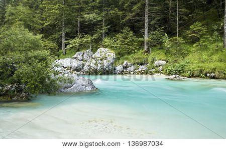 Soca River in Triglav National Park Slovenia