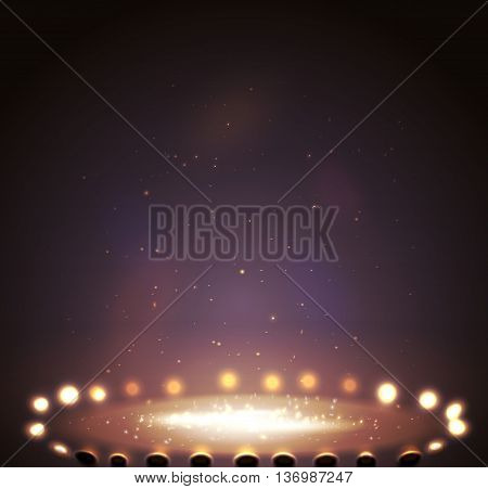 Stage with lights, shine and spotlights magenta. Vector illustration  eps 10