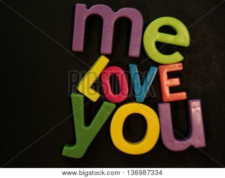 You And Me, Love. Inspirational Message In Vibrant Magnet Letters
