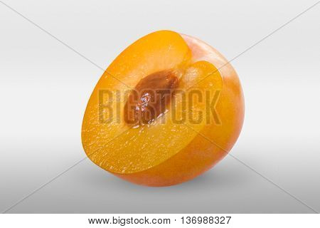 Greengage Plum Fruit On White Background.