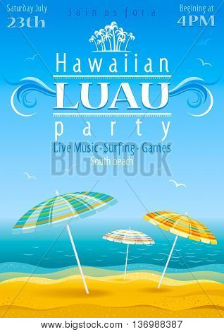 Beach party luau background with stripped umbrellas
