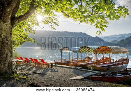 Boats moored at the shore of Bled lake in Slovenia