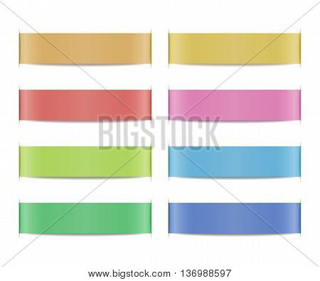 Collection of colored ribbon banners with paper cuts and shadows. Set of scroll elements. Template shapes for design of labels, price tags, emblems, website interface. Vector illustration.
