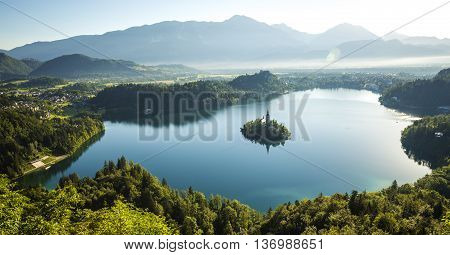 Aerial view of Bled lake in Slovenia