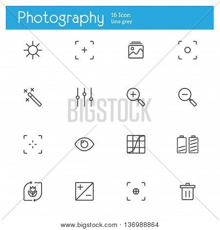 Photography controlsetting and equipment line icons set