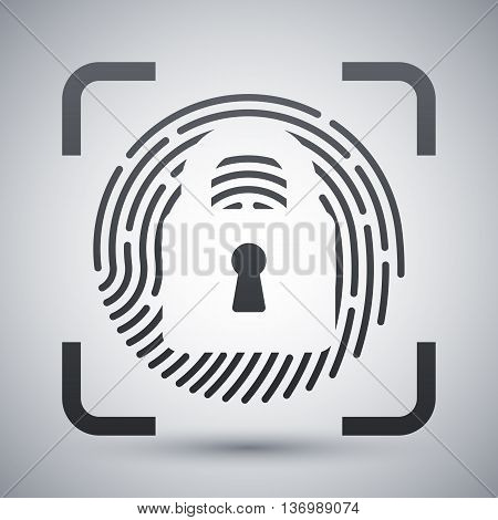 Vector Fingerprint Scanner Locked Icon. Fingerprint Scanner Locked Simple Icon On A Light Gray Backg