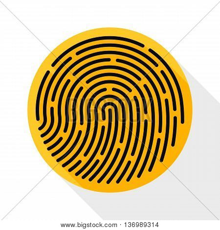 Vector Fingerprint Icon. Fingerprint Simple Icon In Flat Style With Long Shadow On White Background
