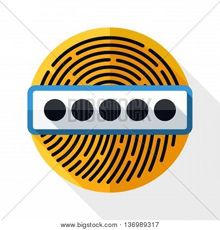 Vector Fingerprint Password Icon. Fingerprint Password Simple Icon In Flat Style With Long Shadow On