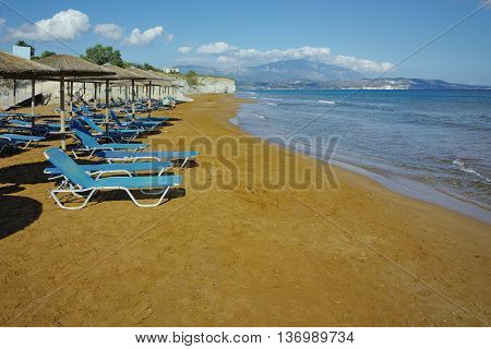 Red sands of xsi beach, Kefalonia, Ionian Islands, Greece