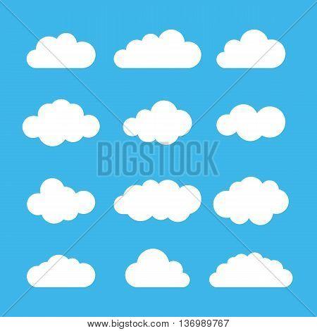 Cloud icon set. Different cloud shapes. Flat cloud collection. Vector illustration.