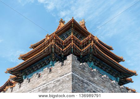 Chinese Palace. Beautiful old design roof. urban background