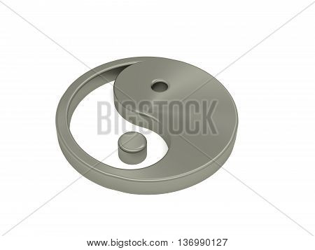 Yin and Yang steel icon on white 3d rendering