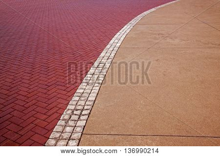 View Of Concrete And Red Paved  Patternes And Textures
