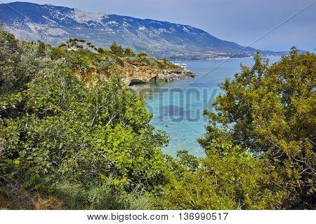 Clear waters of Pesada beach, Kefalonia, Ionian islands, Greece
