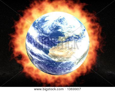 Planet Earth With Fire Aureole