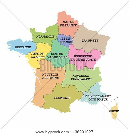 Vector illustration of France metropolitan map with new regions and new names (july 2016)