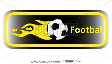 Long yellow icon with football symbolics and gradient