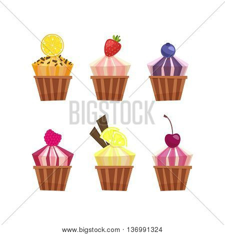 Cartoon illustration of tasty cupcake. Lemon, berries, chocolate and orange tasty cupcakes set . Vector collection isolated on white background.